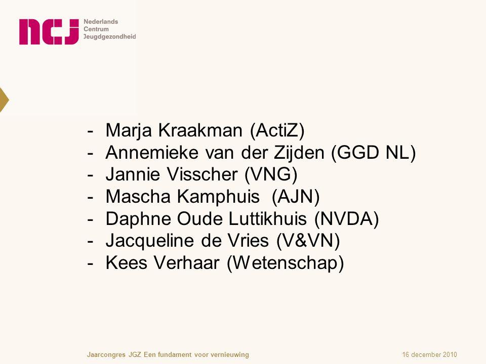  Marja Kraakman (ActiZ)  Annemieke van der Zijden (GGD NL)  Jannie Visscher (VNG)  Mascha Kamphuis (AJN)  Daphne Oude Luttikhuis (NVDA)  Jacqueline de Vries (V&VN)  Kees Verhaar (Wetenschap) 16 december 2010Jaarcongres JGZ Een fundament voor vernieuwing