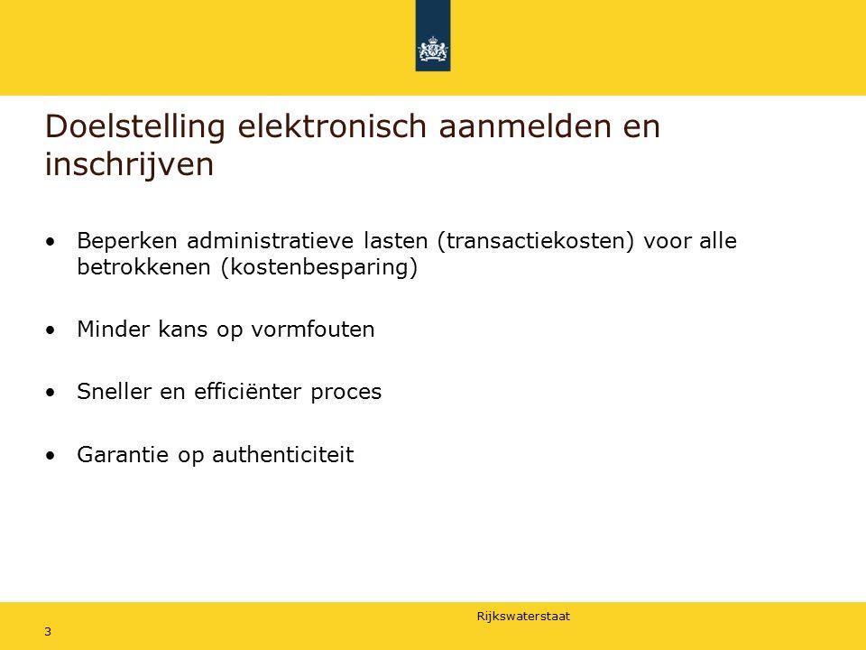 Rijkswaterstaat Doelstelling elektronisch aanmelden en inschrijven Beperken administratieve lasten (transactiekosten) voor alle betrokkenen (kostenbesparing) Minder kans op vormfouten Sneller en efficiënter proces Garantie op authenticiteit 3