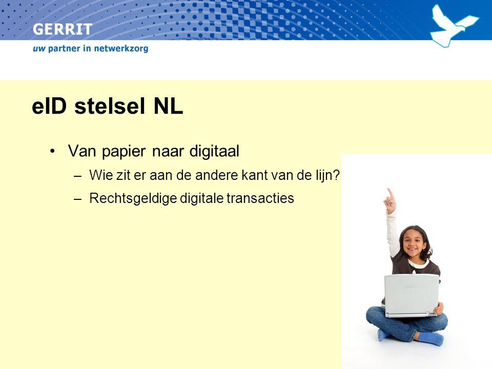eID stelsel NL Van papier naar digitaal –Wie zit er aan de andere kant van de lijn? –Rechtsgeldige digitale transacties