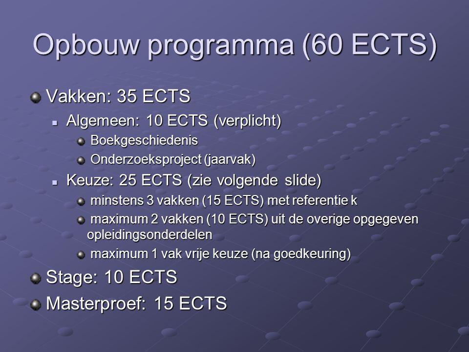 Opbouw programma (60 ECTS) Vakken: 35 ECTS Algemeen: 10 ECTS (verplicht) Algemeen: 10 ECTS (verplicht) Boekgeschiedenis Boekgeschiedenis Onderzoeksproject (jaarvak) Onderzoeksproject (jaarvak) Keuze: 25 ECTS (zie volgende slide) Keuze: 25 ECTS (zie volgende slide) minstens 3 vakken (15 ECTS) met referentie k minstens 3 vakken (15 ECTS) met referentie k maximum 2 vakken (10 ECTS) uit de overige opgegeven opleidingsonderdelen maximum 2 vakken (10 ECTS) uit de overige opgegeven opleidingsonderdelen maximum 1 vak vrije keuze (na goedkeuring) maximum 1 vak vrije keuze (na goedkeuring) Stage: 10 ECTS Masterproef: 15 ECTS