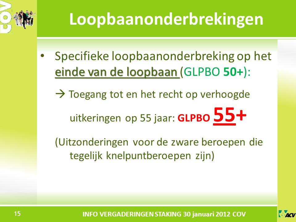 Klik om de stijl te bewerken INFO VERGADERINGEN STAKING 30 januari 2012 COV einde van de loopbaan Specifieke loopbaanonderbreking op het einde van de loopbaan (GLPBO 50+):  Toegang tot en het recht op verhoogde uitkeringen op 55 jaar: GLPBO 55+ (Uitzonderingen voor de zware beroepen die tegelijk knelpuntberoepen zijn) Loopbaanonderbrekingen 15
