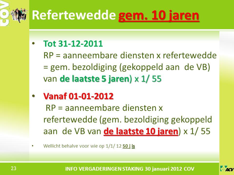 Klik om de stijl te bewerken INFO VERGADERINGEN STAKING 30 januari 2012 COV de laatste 5 jaren) x 1/ 55 Tot 31-12-2011 RP = aanneembare diensten x refertewedde = gem.