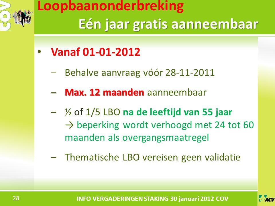 Klik om de stijl te bewerken INFO VERGADERINGEN STAKING 30 januari 2012 COV Vanaf 01-01-2012 –Behalve aanvraag vóór 28-11-2011 –Max.
