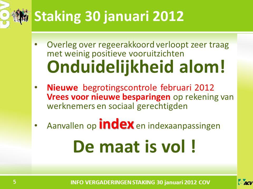 Klik om de stijl te bewerken INFO VERGADERINGEN STAKING 30 januari 2012 COV Overleg over regeerakkoord verloopt zeer traag met weinig positieve vooruitzichten Onduidelijkheid alom.