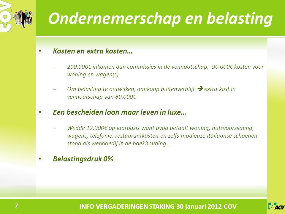 Klik om de stijl te bewerken INFO VERGADERINGEN STAKING 30 januari 2012 COV Kosten en extra kosten… –200.000€ inkomen aan commissies in de vennootschap, 90.000€ kosten voor woning en wagen(s) –Om belasting te ontwijken, aankoop buitenverblijf  extra kost in vennootschap van 80.000€ Een bescheiden loon maar leven in luxe… –Wedde 12.000€ op jaarbasis want bvba betaalt woning, nutsvoorziening, wagens, telefonie, restaurantkosten en zelfs modieuze Italiaanse schoenen stond als werkkledij in de boekhouding… Belastingsdruk 0% Ondernemerschap en belasting 7