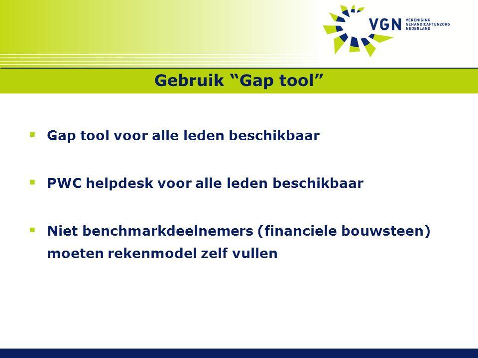 Gebruik Gap tool  Gap tool voor alle leden beschikbaar  PWC helpdesk voor alle leden beschikbaar  Niet benchmarkdeelnemers (financiele bouwsteen) moeten rekenmodel zelf vullen
