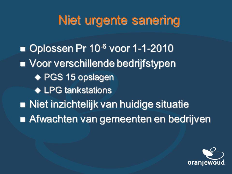 Niet urgente sanering Oplossen Pr 10 -6 voor 1-1-2010 Oplossen Pr 10 -6 voor 1-1-2010 Voor verschillende bedrijfstypen Voor verschillende bedrijfstype