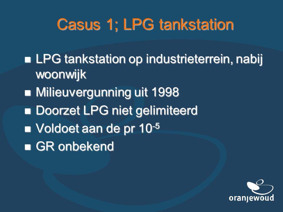Casus 1; LPG tankstation LPG tankstation op industrieterrein, nabij woonwijk LPG tankstation op industrieterrein, nabij woonwijk Milieuvergunning uit