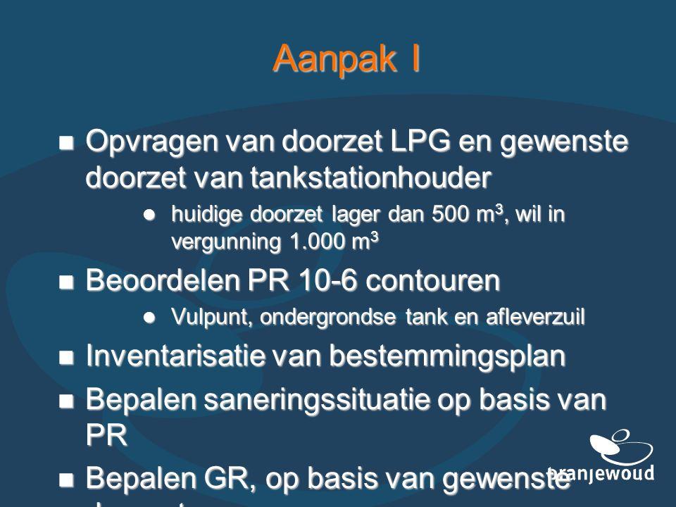Aanpak I Opvragen van doorzet LPG en gewenste doorzet van tankstationhouder Opvragen van doorzet LPG en gewenste doorzet van tankstationhouder huidige