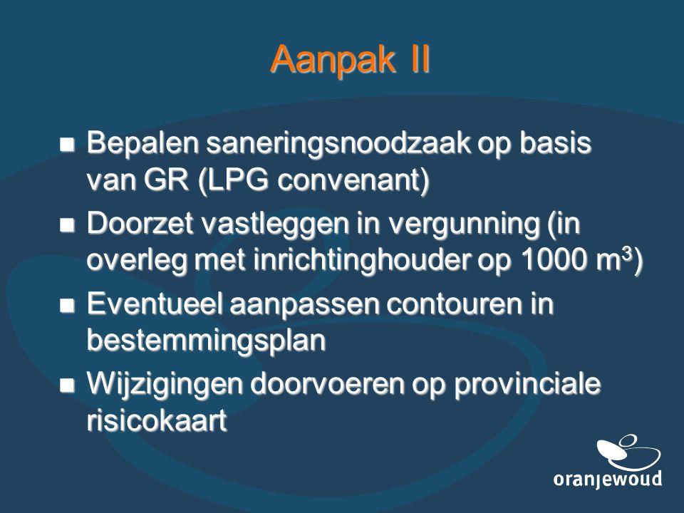 Aanpak II Bepalen saneringsnoodzaak op basis van GR (LPG convenant) Bepalen saneringsnoodzaak op basis van GR (LPG convenant) Doorzet vastleggen in ve