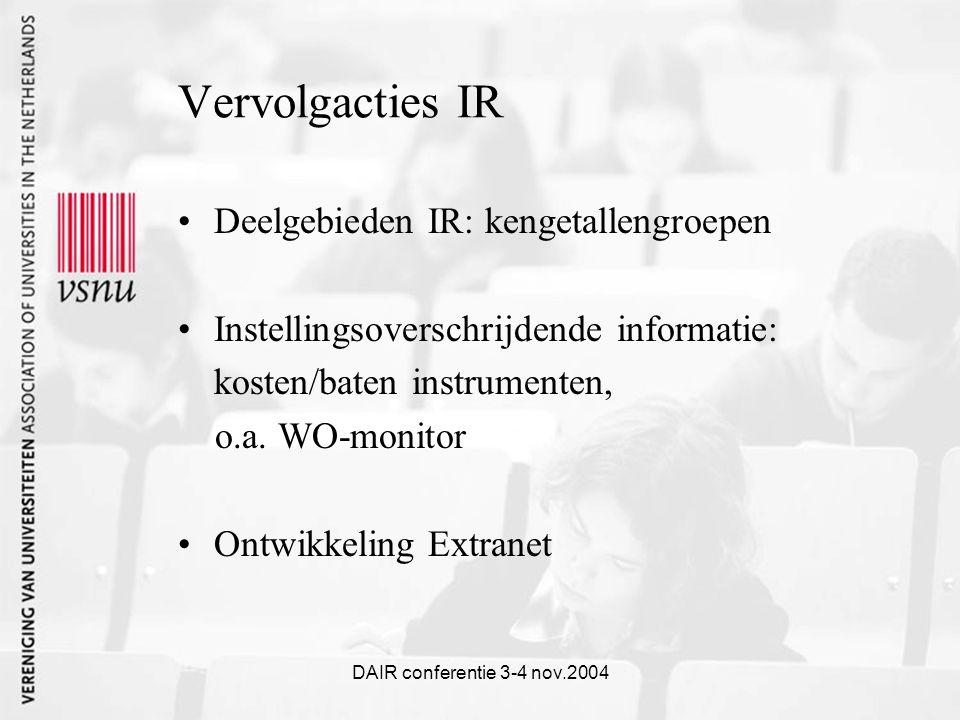 DAIR conferentie 3-4 nov.2004 Vervolgacties IR Deelgebieden IR: kengetallengroepen Instellingsoverschrijdende informatie: kosten/baten instrumenten, o.a.