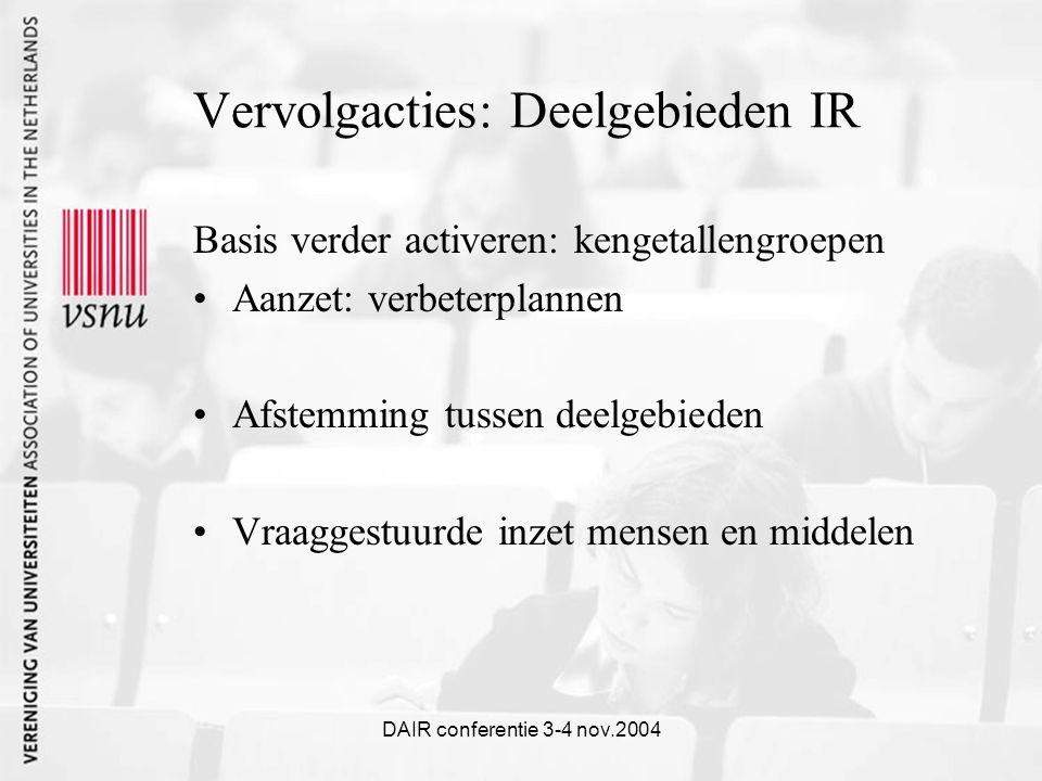 DAIR conferentie 3-4 nov.2004 Vervolgacties: Deelgebieden IR Basis verder activeren: kengetallengroepen Aanzet: verbeterplannen Afstemming tussen deelgebieden Vraaggestuurde inzet mensen en middelen