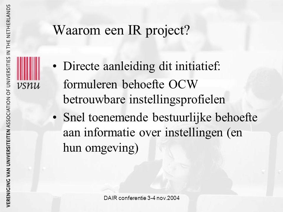 DAIR conferentie 3-4 nov.2004 Waarom een IR project.