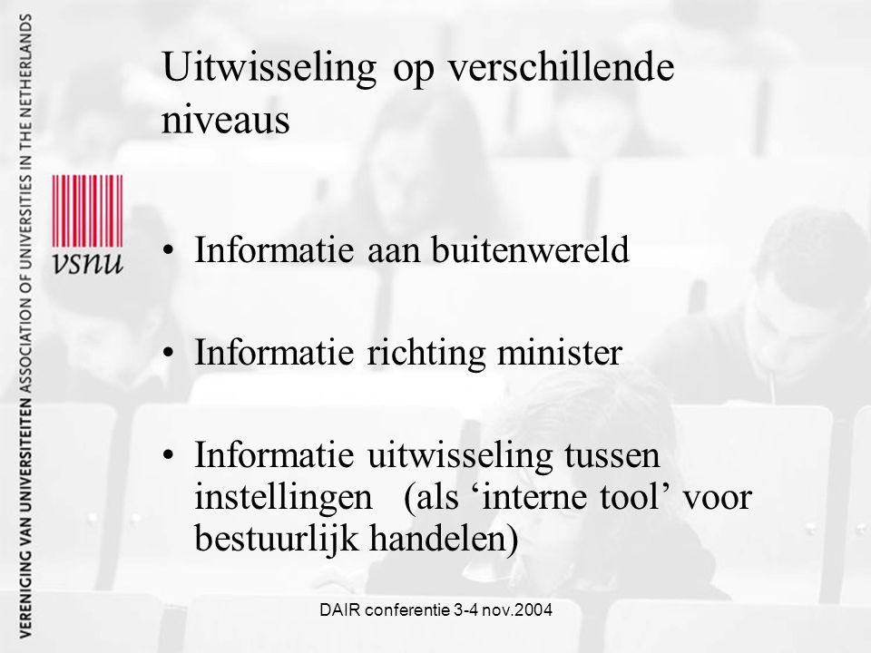 DAIR conferentie 3-4 nov.2004 Uitwisseling op verschillende niveaus Informatie aan buitenwereld Informatie richting minister Informatie uitwisseling tussen instellingen (als 'interne tool' voor bestuurlijk handelen)