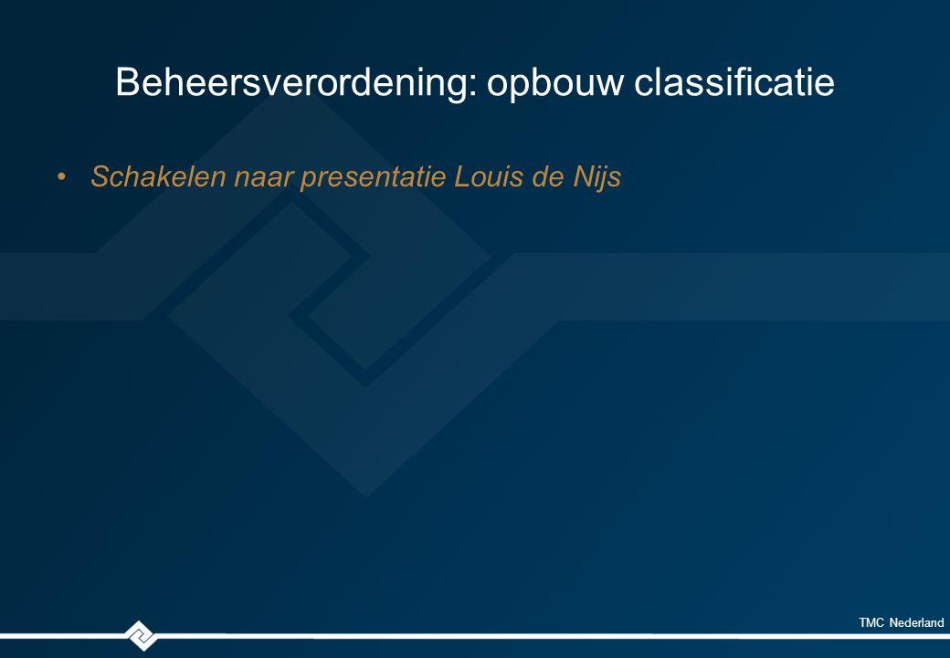 TMC Nederland Beheersverordening: opbouw classificatie Schakelen naar presentatie Louis de Nijs