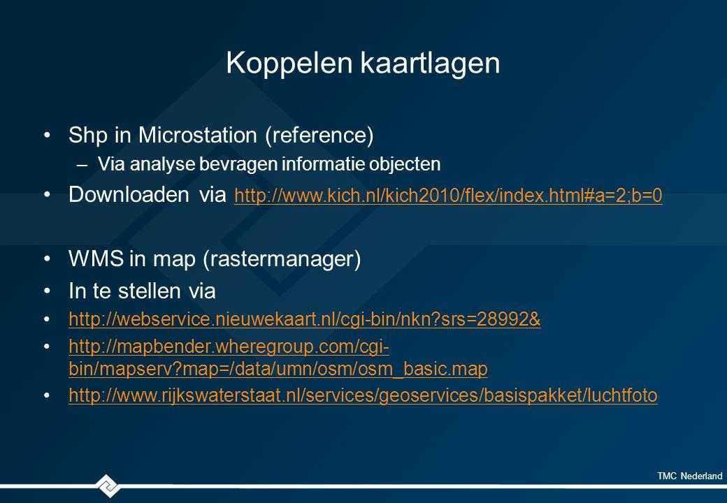 TMC Nederland Koppelen kaartlagen Shp in Microstation (reference) –Via analyse bevragen informatie objecten Downloaden via http://www.kich.nl/kich2010