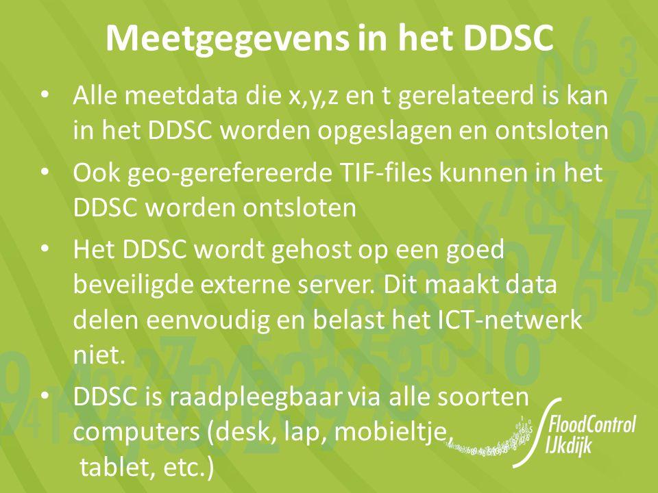 Alle meetdata die x,y,z en t gerelateerd is kan in het DDSC worden opgeslagen en ontsloten Ook geo-gerefereerde TIF-files kunnen in het DDSC worden ontsloten Het DDSC wordt gehost op een goed beveiligde externe server.