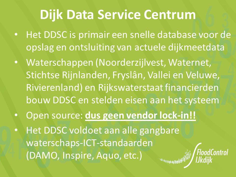 het DDSC is van, voor en door de waterkeringbeheerders, waarbij FloodControl IJkdijk de bouw van het DDSC coördineerde, en Momenteel met Het Waterschapshuis, de betrokken waterschappen en Rijkswaterstaat de overdracht van het DDSC naar HWH wordt voorbereid (realisatie naar verwachting per medio 2016) Dijk Data Service Centrum