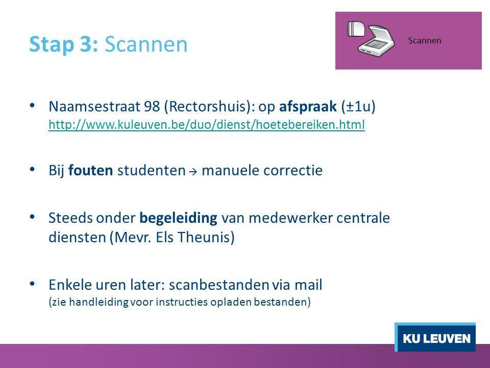 Stap 3: Scannen Naamsestraat 98 (Rectorshuis): op afspraak (±1u) http://www.kuleuven.be/duo/dienst/hoetebereiken.html http://www.kuleuven.be/duo/diens
