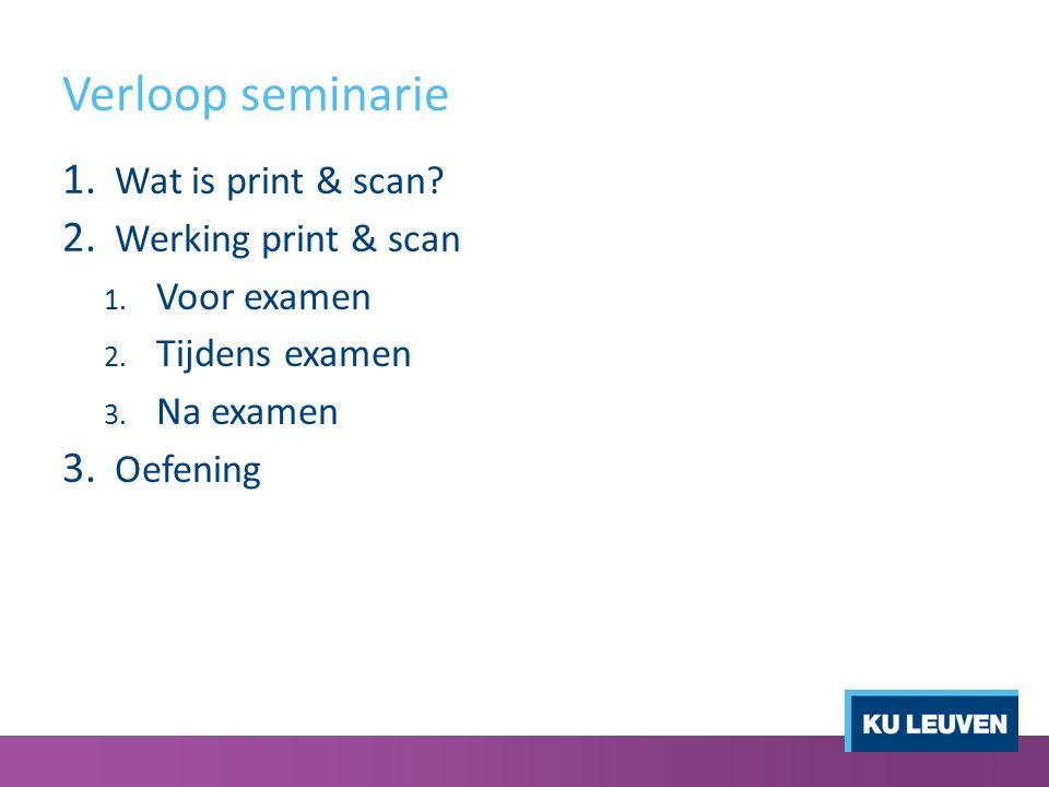 Verloop seminarie 1. Wat is print & scan? 2. Werking print & scan 1. Voor examen 2. Tijdens examen 3. Na examen 3. Oefening