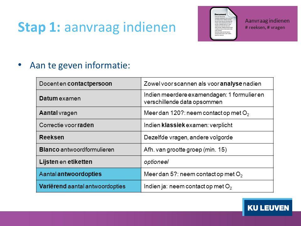 Stap 1: aanvraag indienen Aan te geven informatie: Aanvraag indienen # reeksen, # vragen Docent en contactpersoonZowel voor scannen als voor analyse n