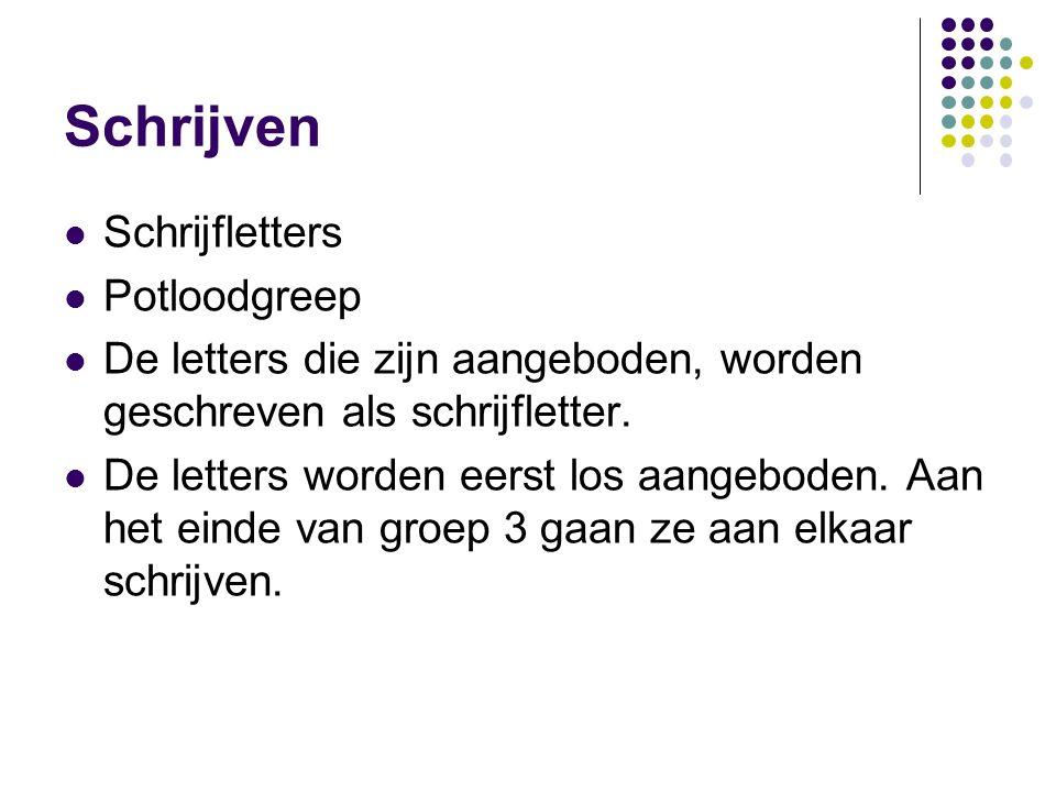 Schrijven Schrijfletters Potloodgreep De letters die zijn aangeboden, worden geschreven als schrijfletter. De letters worden eerst los aangeboden. Aan