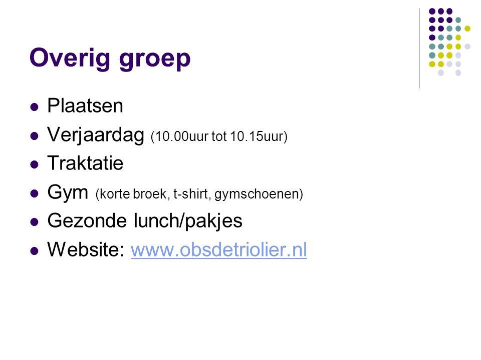 Overig groep Plaatsen Verjaardag (10.00uur tot 10.15uur) Traktatie Gym (korte broek, t-shirt, gymschoenen) Gezonde lunch/pakjes Website: www.obsdetriolier.nlwww.obsdetriolier.nl