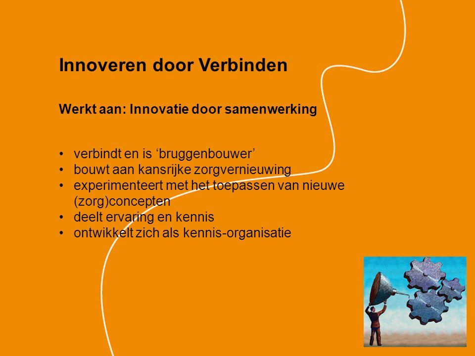 Werkt aan: Innovatie door samenwerking verbindt en is 'bruggenbouwer' bouwt aan kansrijke zorgvernieuwing experimenteert met het toepassen van nieuwe (zorg)concepten deelt ervaring en kennis ontwikkelt zich als kennis-organisatie