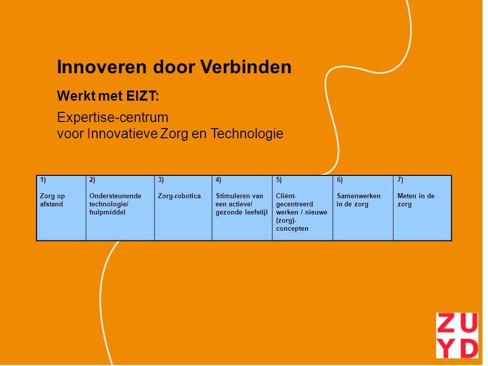 Innoveren door Verbinden Werkt met EIZT: Expertise-centrum voor Innovatieve Zorg en Technologie 1) Zorg op afstand 2) Ondersteunende technologie/ hulpmiddel 3) Zorg-robotica 4) Stimuleren van een actieve/ gezonde leefstijl 5) Cliënt- gecentreerd werken / nieuwe (zorg)- concepten 6) Samenwerken in de zorg 7) Meten in de zorg