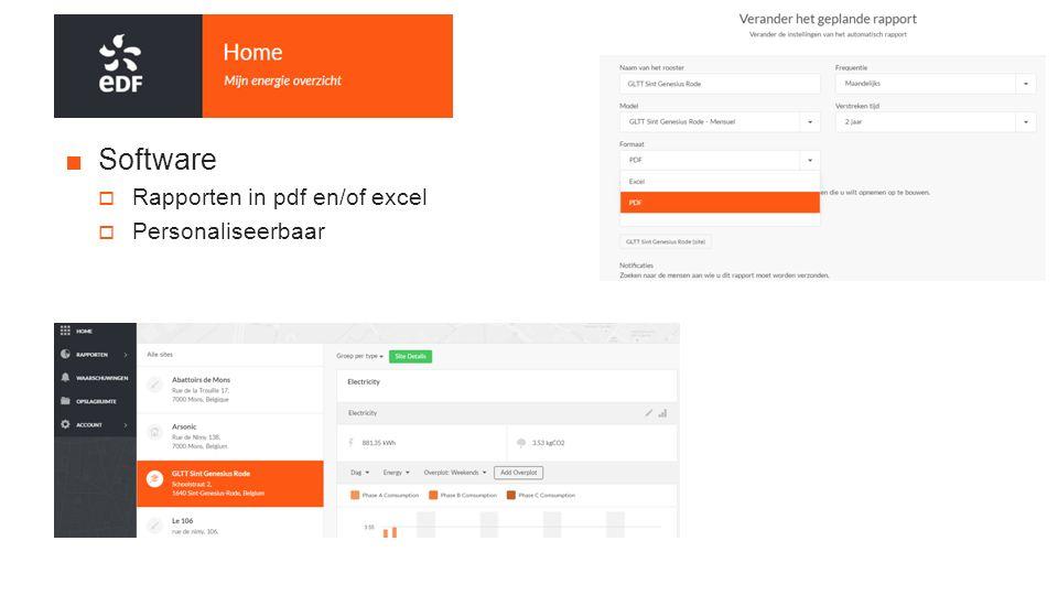■Software  Rapporten in pdf en/of excel  Personaliseerbaar