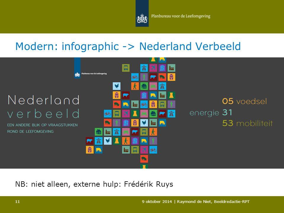 Modern: infographic -> Nederland Verbeeld 9 oktober 2014 | Raymond de Niet, Beeldredactie-RPT 11 NB: niet alleen, externe hulp: Frédérik Ruys