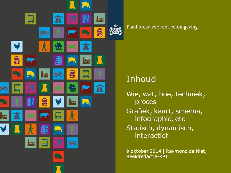 9 oktober 2014 | Raymond de Niet, Beeldredactie-RPT 2 Inhoud Wie, wat, hoe, techniek, proces Grafiek, kaart, schema, infographic, etc Statisch, dynamisch, interactief