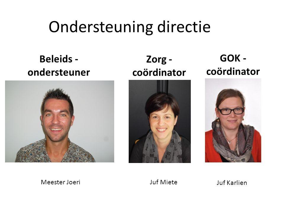 Ondersteuning directie Beleids - ondersteuner Meester Joeri Zorg - coördinator Juf Miete GOK - coördinator Juf Karlien