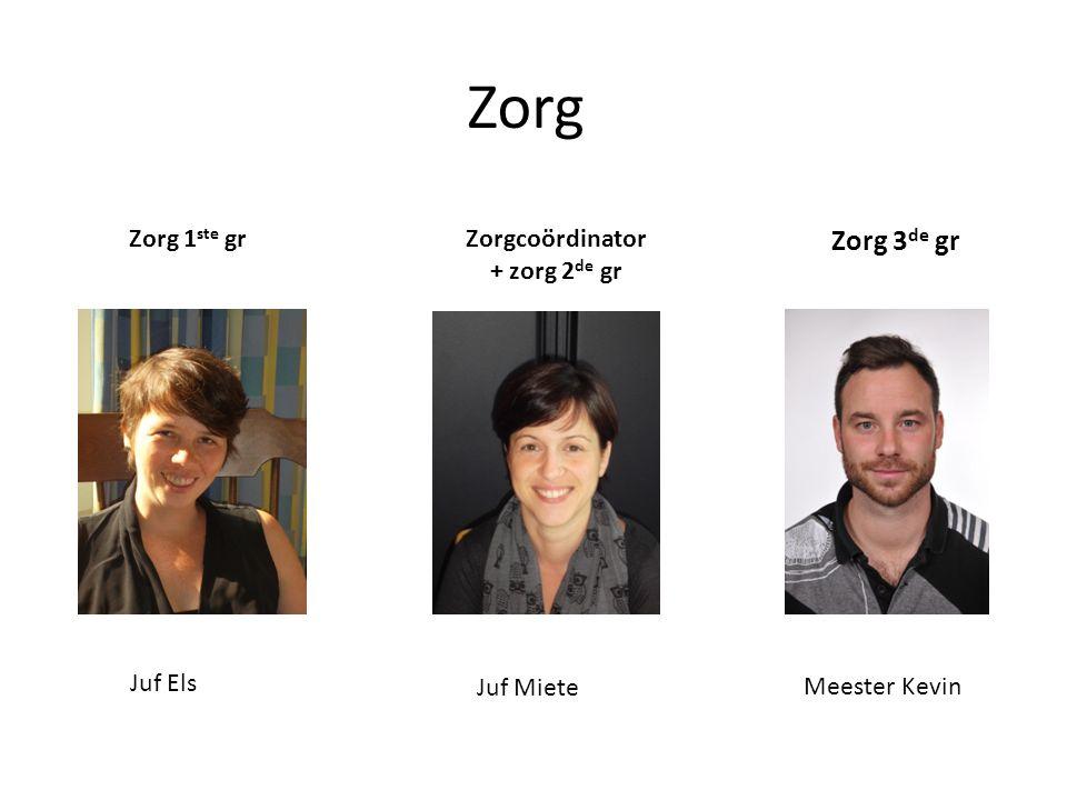Zorg Zorgcoördinator + zorg 2 de gr Zorg 3 de gr Meester Kevin Zorg 1 ste gr Juf Miete Juf Els