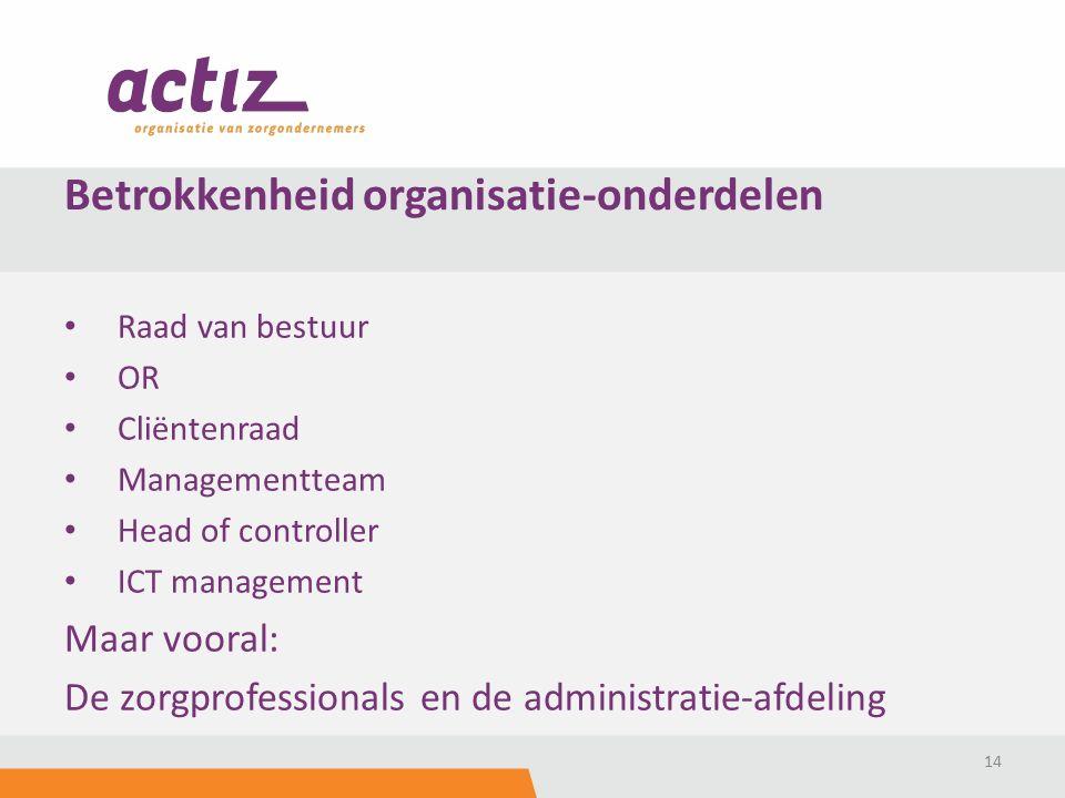 Raad van bestuur OR Cliëntenraad Managementteam Head of controller ICT management Maar vooral: De zorgprofessionals en de administratie-afdeling 14 Betrokkenheid organisatie-onderdelen