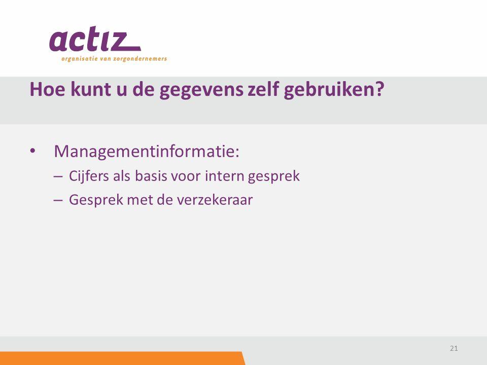 Managementinformatie: – Cijfers als basis voor intern gesprek – Gesprek met de verzekeraar 21 Hoe kunt u de gegevens zelf gebruiken