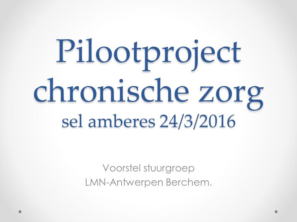 Pilootproject chronische zorg sel amberes 24/3/2016 Voorstel stuurgroep LMN-Antwerpen Berchem.