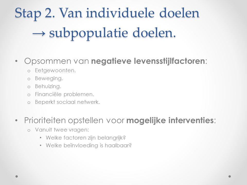 Stap 2. Van individuele doelen → subpopulatie doelen. Opsommen van negatieve levensstijlfactoren : o Eetgewoonten. o Beweging. o Behuizing. o Financië