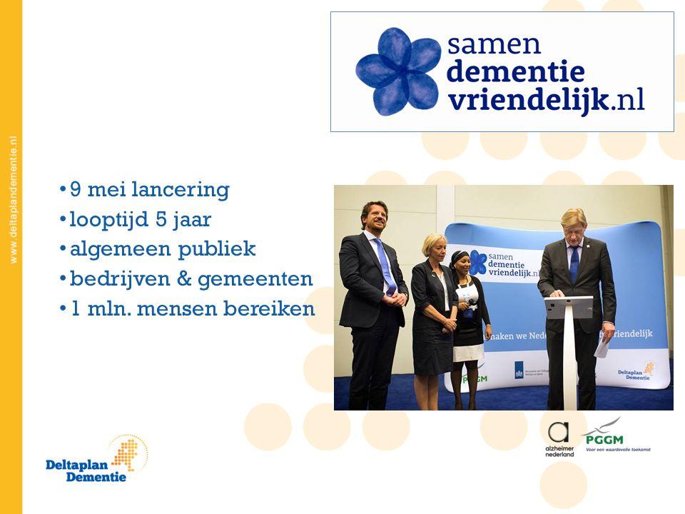 9 mei lancering looptijd 5 jaar algemeen publiek bedrijven & gemeenten 1 mln. mensen bereiken