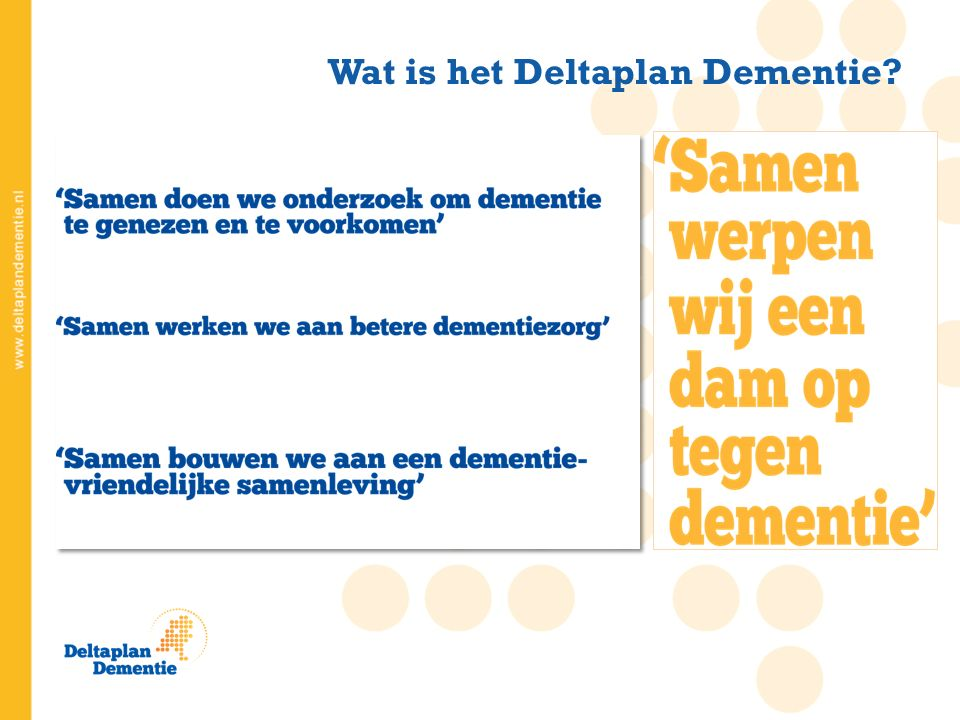 Wat is het Deltaplan Dementie Memorabel