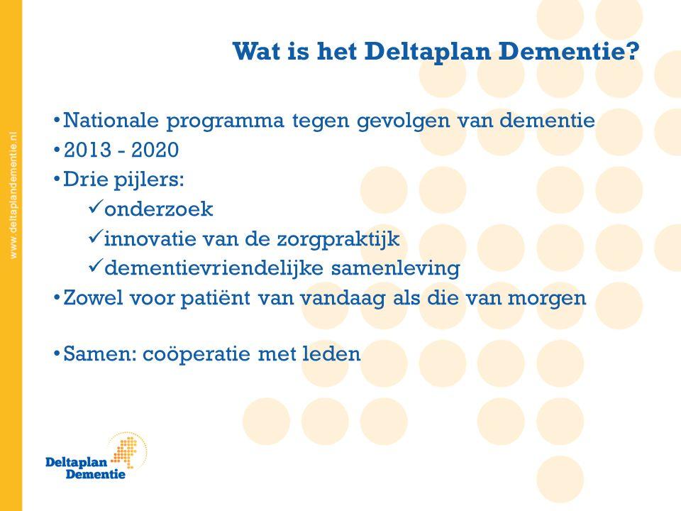 Nationale programma tegen gevolgen van dementie 2013 - 2020 Drie pijlers: onderzoek innovatie van de zorgpraktijk dementievriendelijke samenleving Zowel voor patiënt van vandaag als die van morgen Samen: coöperatie met leden Wat is het Deltaplan Dementie?