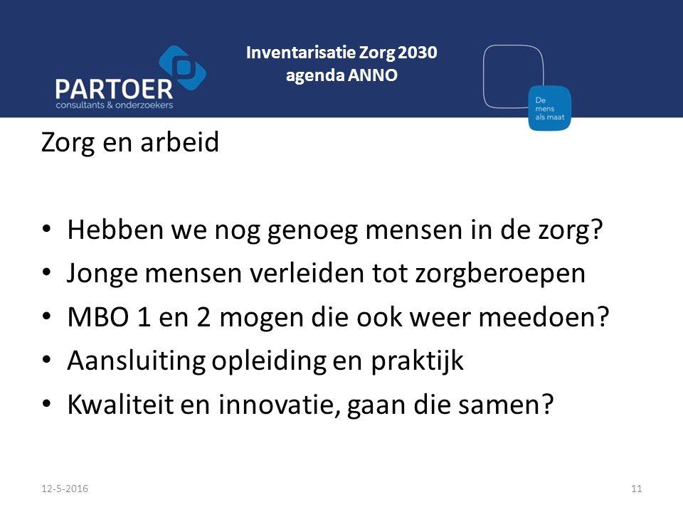 Inventarisatie Zorg 2030 agenda ANNO Zorg en arbeid Hebben we nog genoeg mensen in de zorg? Jonge mensen verleiden tot zorgberoepen MBO 1 en 2 mogen d