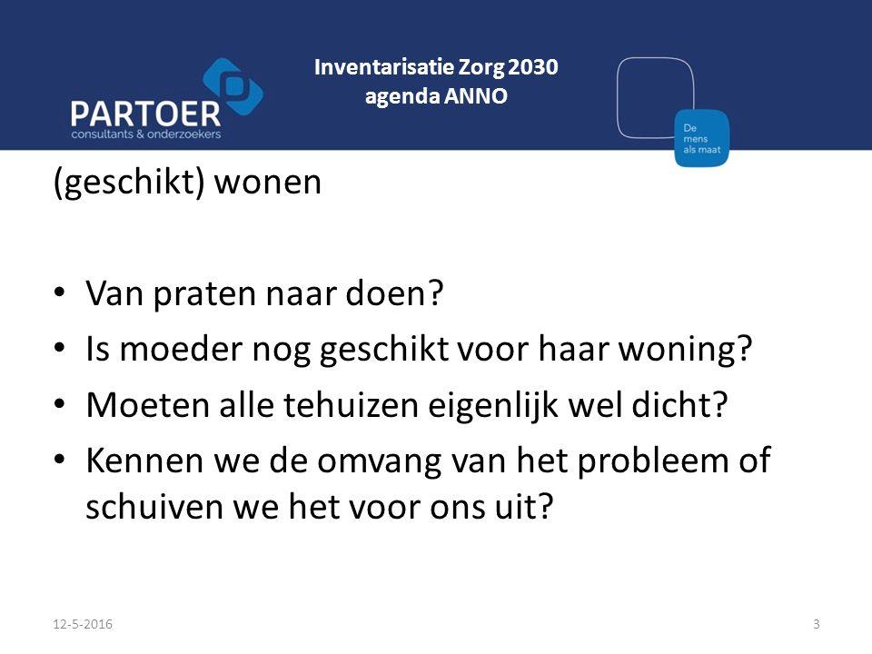 Inventarisatie Zorg 2030 agenda ANNO (geschikt) wonen Van praten naar doen? Is moeder nog geschikt voor haar woning? Moeten alle tehuizen eigenlijk we