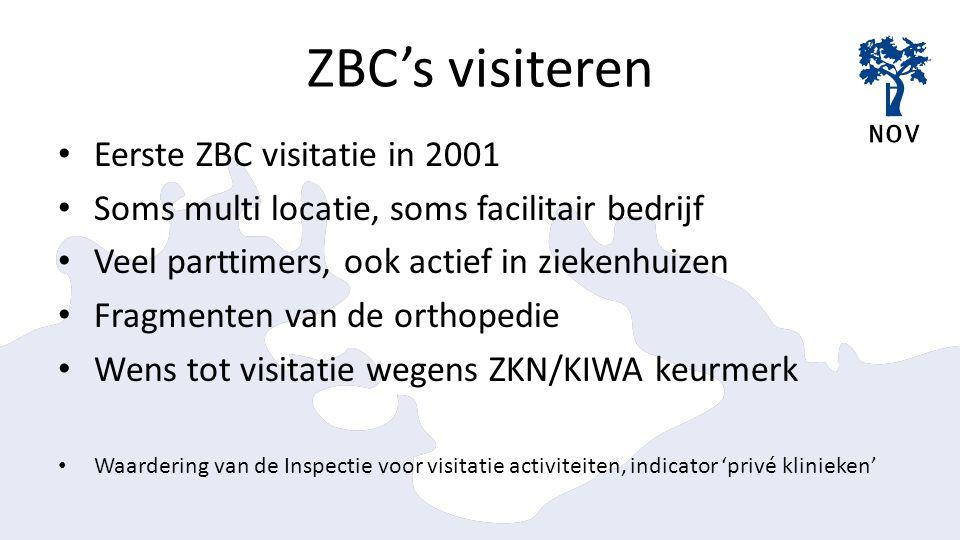 ZBC's visiteren Eerste ZBC visitatie in 2001 Soms multi locatie, soms facilitair bedrijf Veel parttimers, ook actief in ziekenhuizen Fragmenten van de orthopedie Wens tot visitatie wegens ZKN/KIWA keurmerk Waardering van de Inspectie voor visitatie activiteiten, indicator 'privé klinieken'