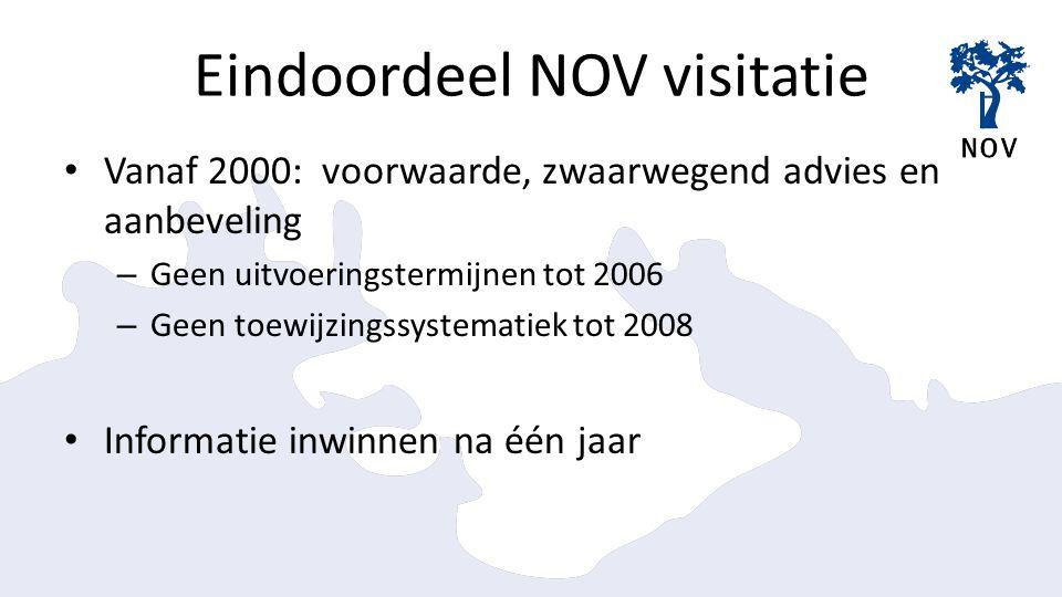 Eindoordeel NOV visitatie Vanaf 2000: voorwaarde, zwaarwegend advies en aanbeveling – Geen uitvoeringstermijnen tot 2006 – Geen toewijzingssystematiek tot 2008 Informatie inwinnen na één jaar