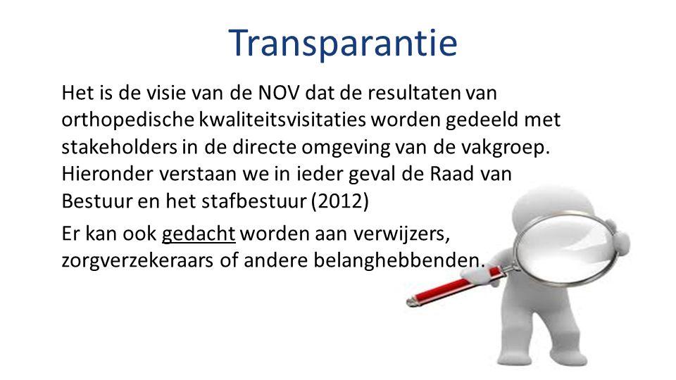 Transparantie Het is de visie van de NOV dat de resultaten van orthopedische kwaliteitsvisitaties worden gedeeld met stakeholders in de directe omgeving van de vakgroep.