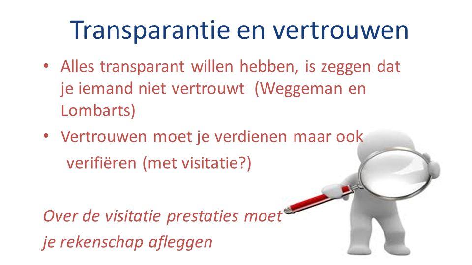 Transparantie en vertrouwen Alles transparant willen hebben, is zeggen dat je iemand niet vertrouwt (Weggeman en Lombarts) Vertrouwen moet je verdienen maar ook verifiëren (met visitatie ) Over de visitatie prestaties moet je rekenschap afleggen