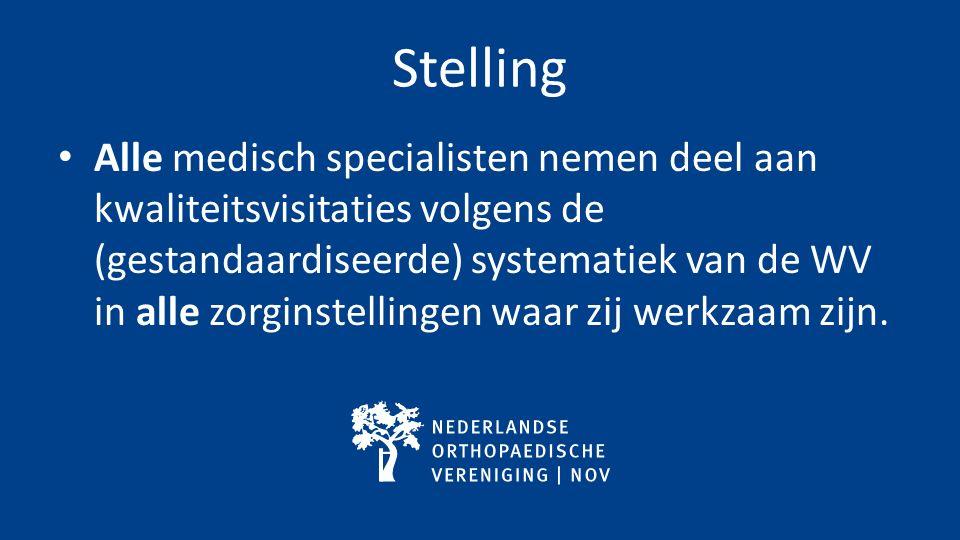 Stelling Alle medisch specialisten nemen deel aan kwaliteitsvisitaties volgens de (gestandaardiseerde) systematiek van de WV in alle zorginstellingen waar zij werkzaam zijn.