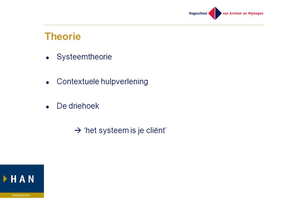 Theorie Systeemtheorie Contextuele hulpverlening De driehoek  'het systeem is je cliënt'