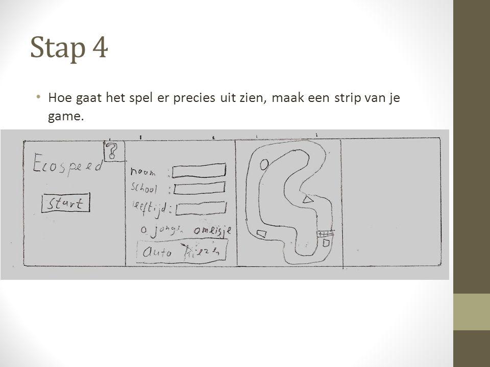 Stap 4 Hoe gaat het spel er precies uit zien, maak een strip van je game.